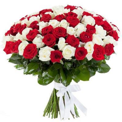 101 роза «Красное-белое»