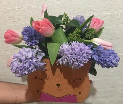 Стильный букет «Микс с тюльпанами»