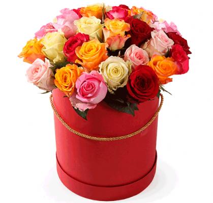 Букет из 35 фламандских разноцветных роз