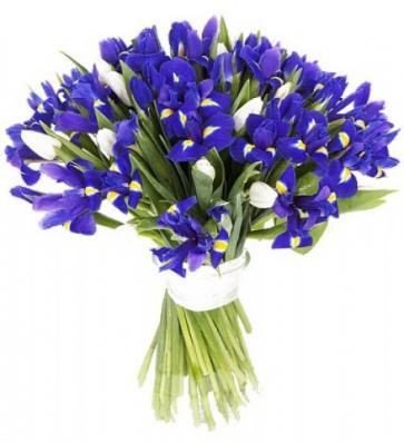 Букет из ирисов и тюльпанов для мамы