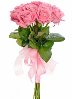 9 розовых премиальных роз