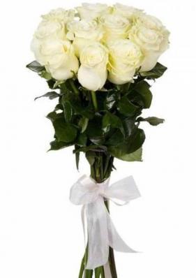 9 белых премиальных роз