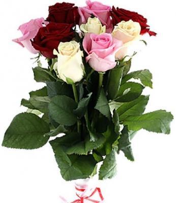 9 красных, розовых и белых роз