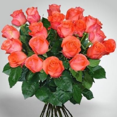 21 ярко оранжевая роза