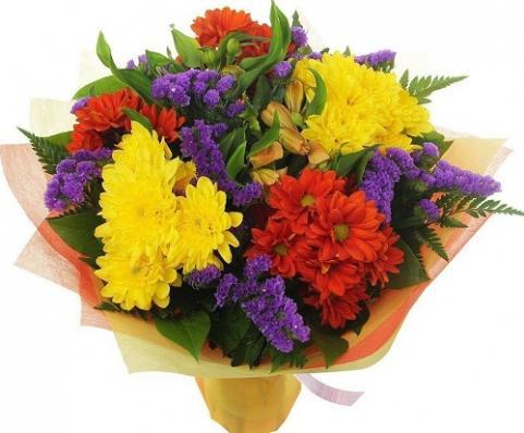 Цветы из хризантем на День учителя