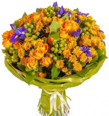 Оранжевая композиция из цветов на 1 сентября