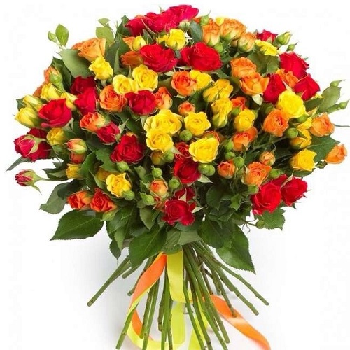 Эффектный микс из 25 кустовых роз