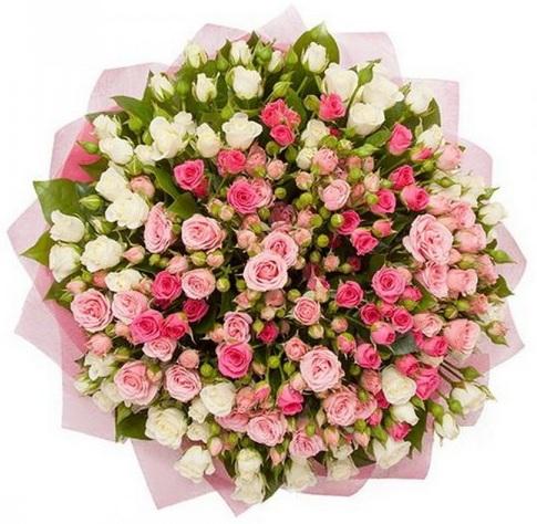 25 белых и розовых кустовых роз