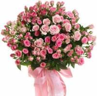25 розовых и кремовых кустовых роз