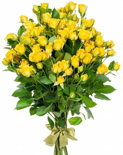 9 жёлтых кустовых роз