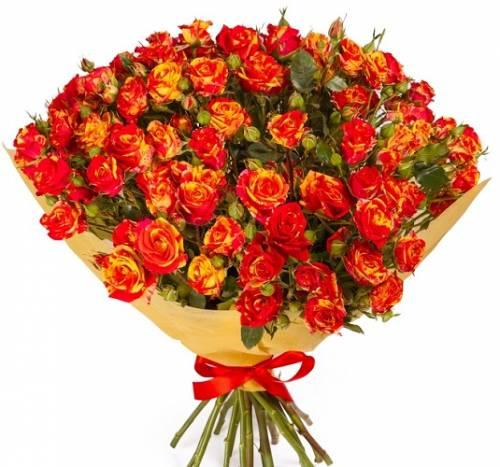 15 огненных кустовых роз
