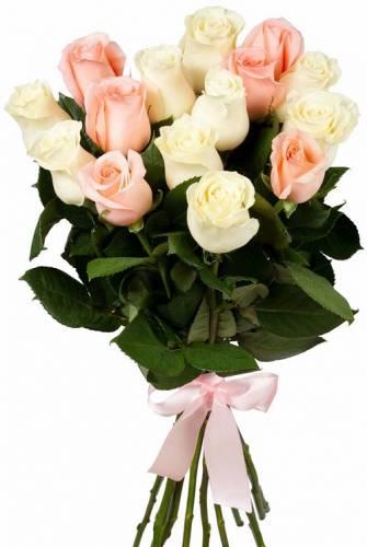 15 белых и розовых роз