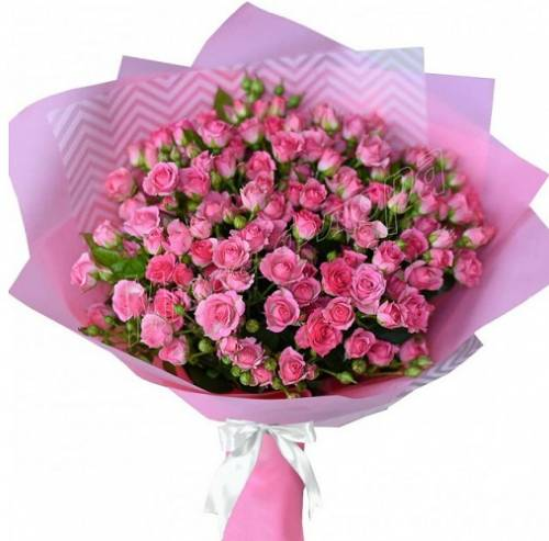 15 розовых кустовых роз в кальке