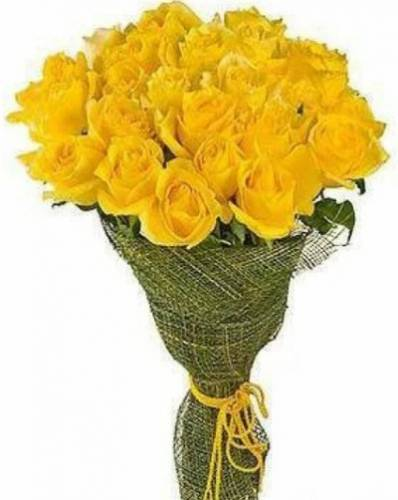 25 жёлтых роз в сетке
