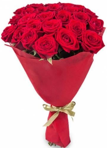 25 красных роз в кальке