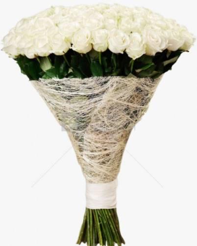 101 белая роза в сетке