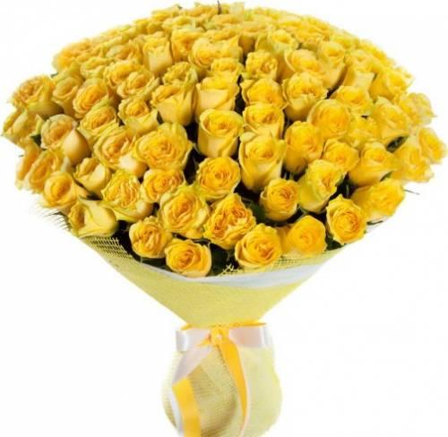 101 жёлтая роза в сетке