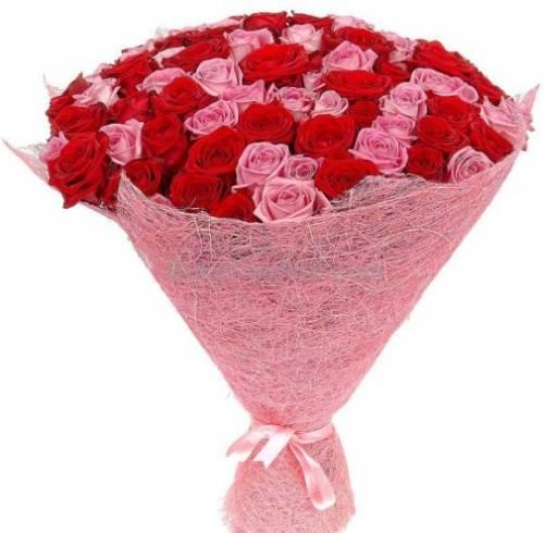 101 розовая и красная роза в сетке