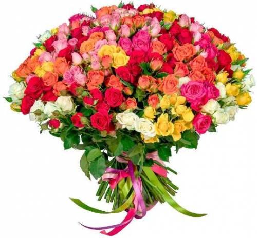 Микс из 101 разноцветной кустовой розы