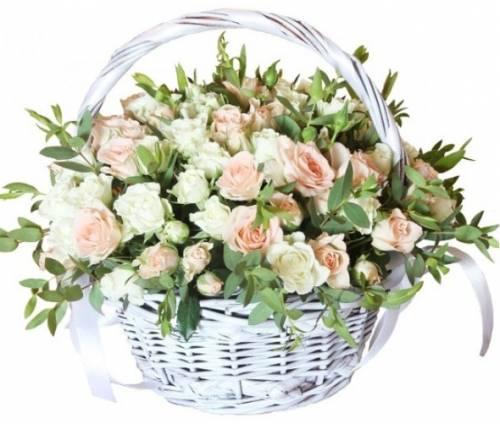 Цветочная корзина с кустовыми розами