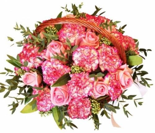 """Цветы в корзине """"Радость из гвоздик и роз"""""""