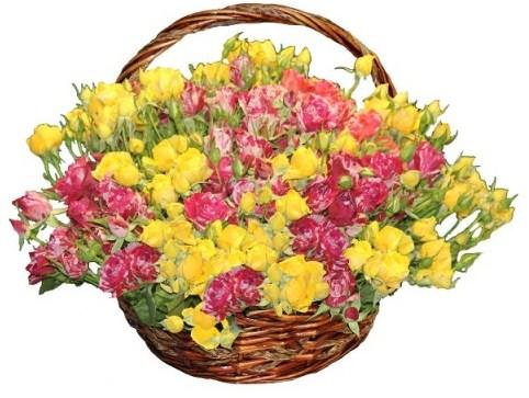 Цветочная корзина из жёлтых и розовых роз