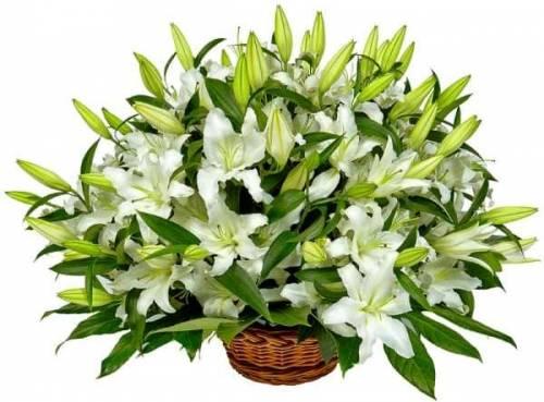 Корзина цветов с лилиями
