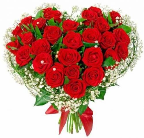 Букет из сердца из роз на День рождения