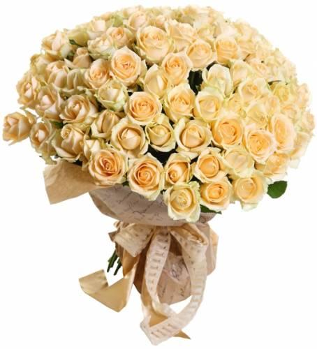75 кремовых роз на День рождения