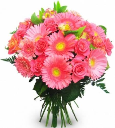 Букет на День рождения из астры и розовых роз