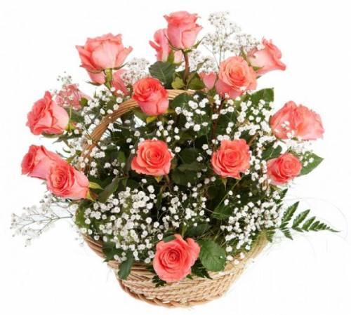 Букет на День рождения из роз и гипсофилы