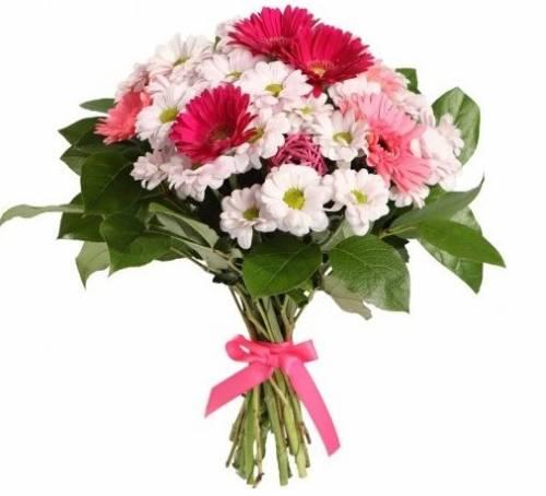 Цветы с хризантемами для мамы