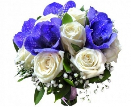 Букет для невесте из роз и орхидеи