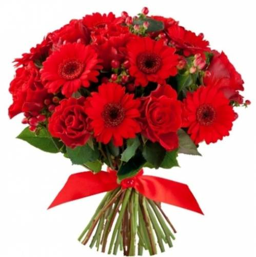 Букет из гербер и роз на 14 февраля